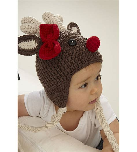 Jo In Baby Hat crochet newborn reindeer hat pattern dancox for