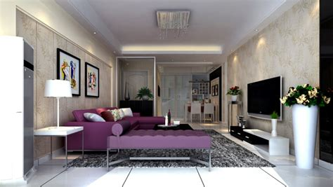 Modern Living Room Purple Couch Interior Design | modern living room purple couch interior design