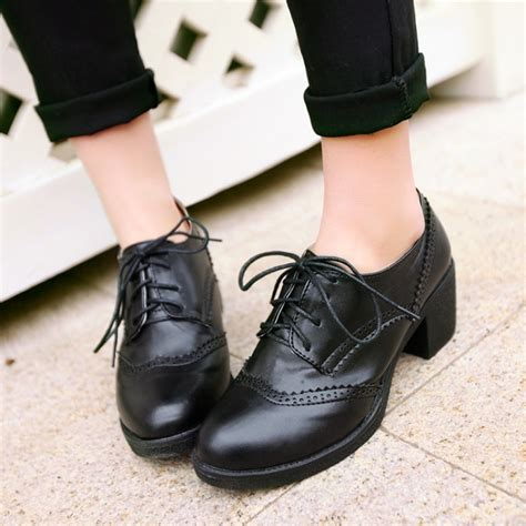 oxford shoes fashion style curved lace up high heels oxford shoes for