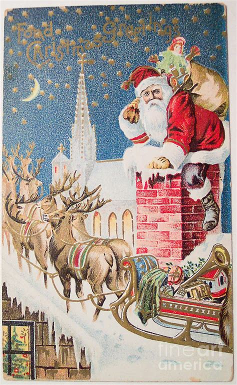 merry christmas vintage   santa claus   raindeer painting   muirhead art