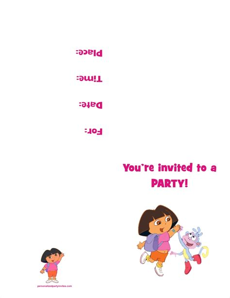 Personalized Party Invites News   Free Printable Dora the