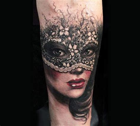 Woman mask looking tattoos
