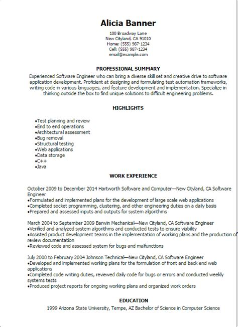 Software Engineering Resume Exle by Professional Software Engineer Resume Templates To Showcase Your Talent Myperfectresume