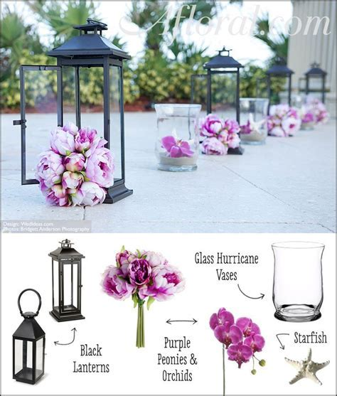 Wedding aisle ceremony decor: Purple peonies and orchids