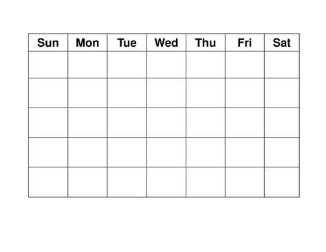blank weekly calendars printable activity shelter