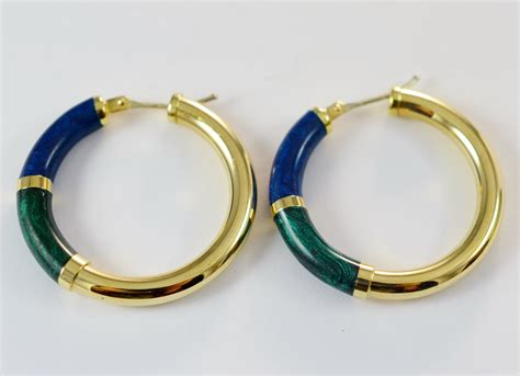 hoop earrings with 14k yellow gold hollow hoop earrings with blue and green