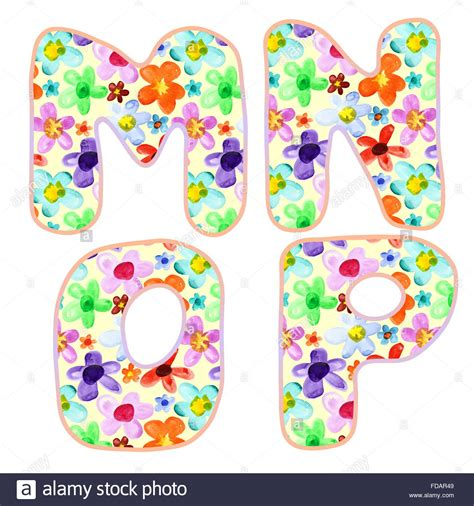 colorful letters alphabet with colorful watercolor flower pattern letters