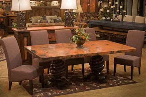 Copper Dining Room Table World Rustic Copper Dining Table Rustic Dining Room Other By Woodland Creek Furniture