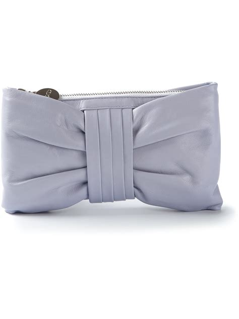 Valentino Flat Bow Clutch by Lyst Valentino Bow Clutch In Gray