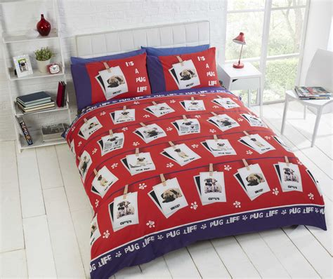 pug quilt duvet cover or cushion cover bedding bed