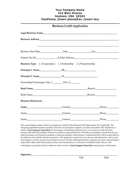 Credit Facility Form Format Credit Application Form Free Documents For Pdf Word And Excel