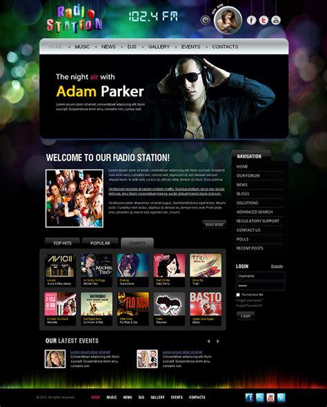 template joomla radio station free radio station 102 4 fm joomla template on behance