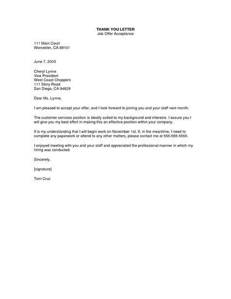thanking letter for work thank you letter for offer of employment the letter sle