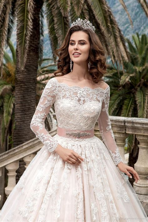 2018 stunning sleeves lace wedding dresses vestidos de noiva pricess gown wedding