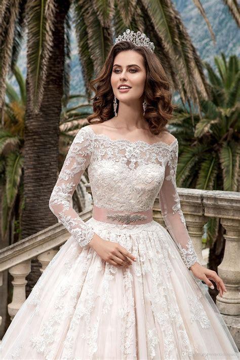 2018 Stunning Full Sleeves Lace Wedding Dresses Vestidos