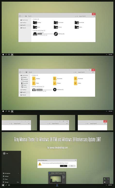 gray themes for windows 8 1 gray minimal theme for windows10 anniversary update 1607