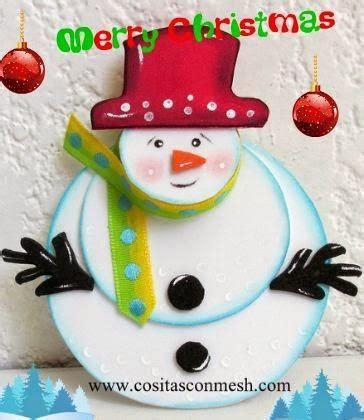 como hacer un snowman de fomi manualidades navide 241 as con mu 241 ecos de nieve paperblog