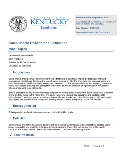 Uk Social Media Policies And Guidelines Free Download Simple Social Media Policy Template