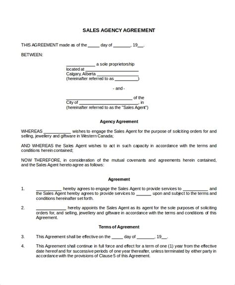8 Sales Agency Agreement Templates Sle Templates Agency Contract Template