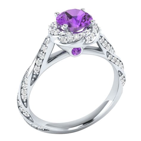 14k white gold 1 18 ct real purple amethyst certified