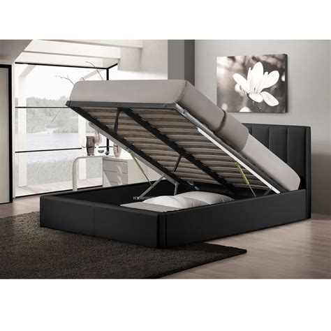 Size Storage Bed by Templemore Black Leather Contemporary Size Gas Lift