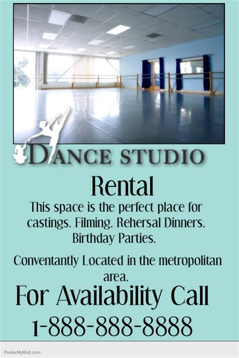 dance studio rental property flyer template postermywall