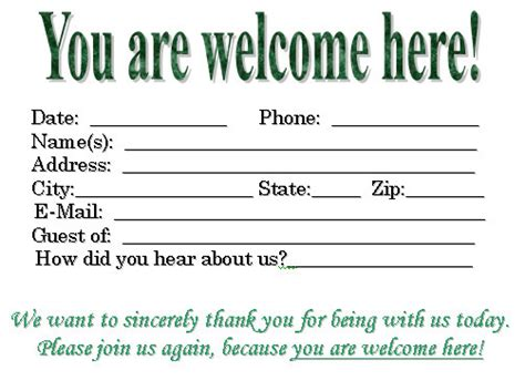 church volunteer info registration card template visitor card template you can customize