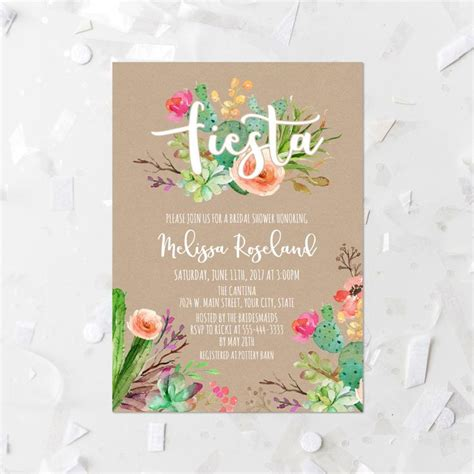 floral wedding invitation diy pink flowers and cactus wedding invitation templates and wording