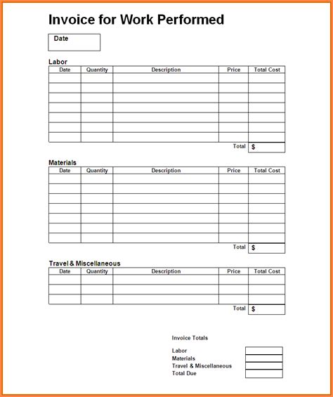 receipt template for labor labor receipt template smdlab invoice