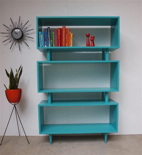 mid century teal bookcase