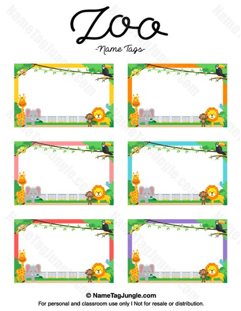 printable zoo animal name tags printable zoo name tags