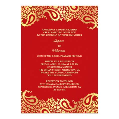 indian wedding invitation cards templates paisleys indian wedding flat invitation 5 quot x 7