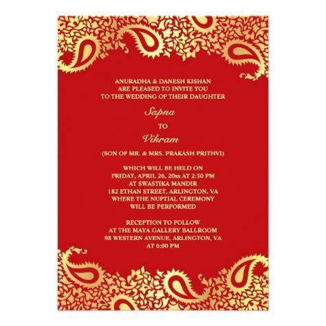 Wedding invitation templates hindi wedding invitation card paisleys elegant indian wedding flat invitation 5 x 7 invitation card zazzle stopboris Choice Image