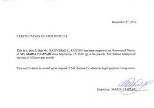 Certification Letter In The Philippines Other Information
