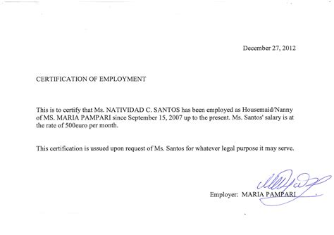 sle employment certification letter for 28 images