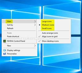 Desktop Small Icons Registry Desktop Icons Size Change In Windows 10 Windows 10 Forums