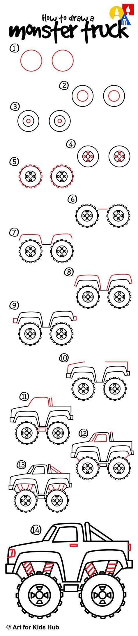 monster trucks drawings how to draw a monster truck art for kids hub monster