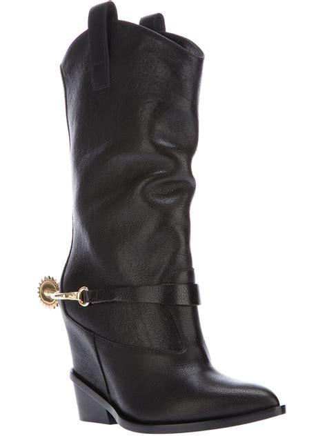 cowboy boot sneakers lyst giuseppe zanotti heel spur cowboy boot in black