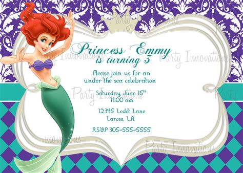 printable birthday invitations little mermaid little mermaid invitation template best template collection