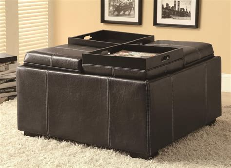 ottomane schwarz leder black leather ottoman agustus black leather storage