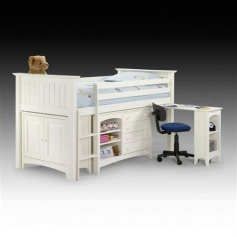 White Bunk Bed With Desk White Bunk Sleep Station With Pullout Desk 4507
