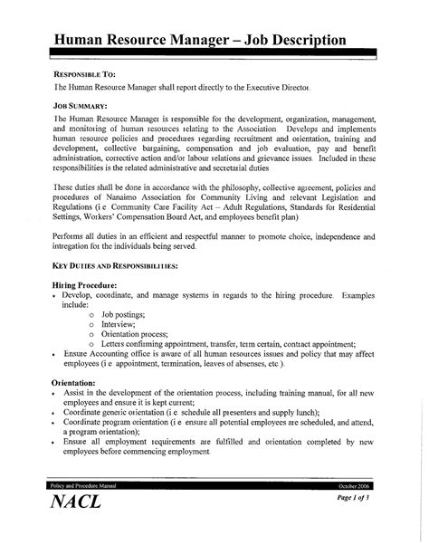 best photos of human resources job description template