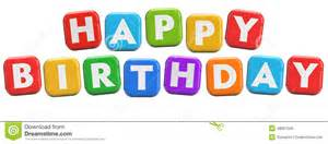 happy birthday party greeting text stock illustration