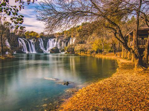 kravice waterfall  bosnia herzegovina autumn landscape