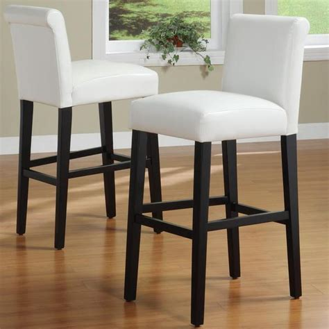 Inspire Q Bar Stools by Inspire Q White Faux Leather 29 Inch Bar Stools