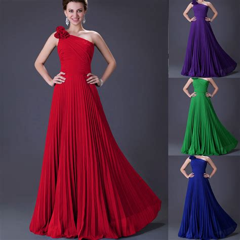 ebay evening dresses long pleated chiffon prom bridal bridesmaid dress evening
