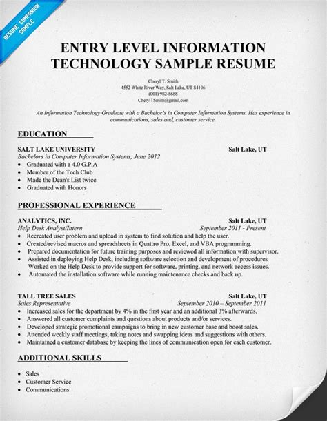 Information Technology Resume Sles 12 best images about make your resume pop on