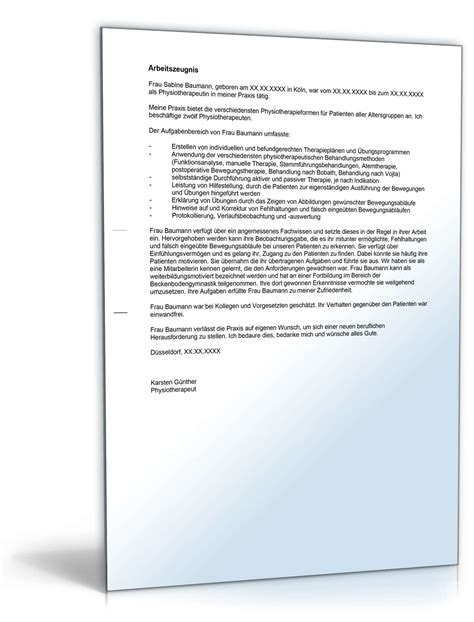 Bewerbung Anschreiben Muster Physiotherapeut Arbeitszeugnis Physiotherapeut Note Vier Muster Zum