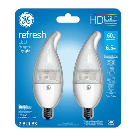 ge hd light refresh ge 68732 refresh hd dimmable clear cac candelabra base led