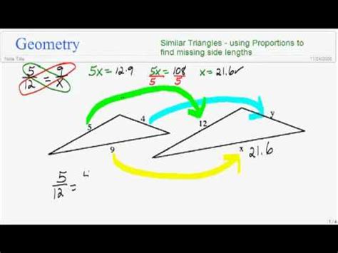 Find Similar Similar Triangles Using Proportions To Find Side Lengths 1